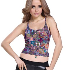 Ornamental Mosaic Background Spaghetti Strap Bra Top