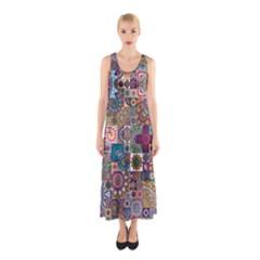 Ornamental Mosaic Background Sleeveless Maxi Dress