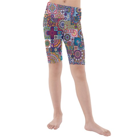 Ornamental Mosaic Background Kids  Mid Length Swim Shorts