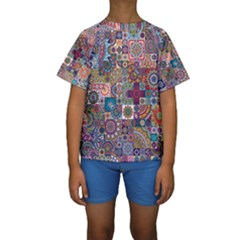Ornamental Mosaic Background Kids  Short Sleeve Swimwear
