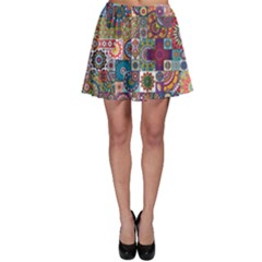 Ornamental Mosaic Background Skater Skirt