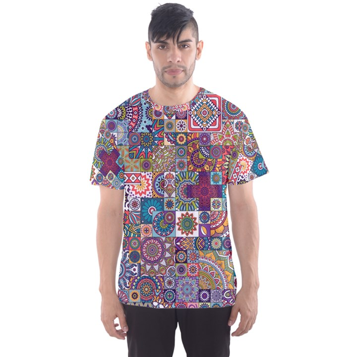 Ornamental Mosaic Background Men s Sport Mesh Tee