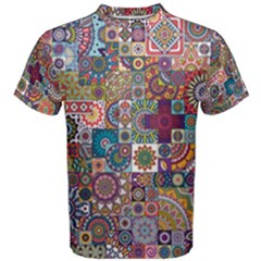 Ornamental Mosaic Background Men s Cotton Tee