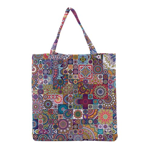 Ornamental Mosaic Background Grocery Tote Bag