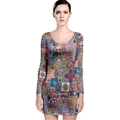 Ornamental Mosaic Background Long Sleeve Bodycon Dress