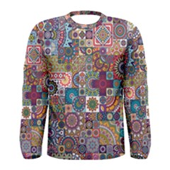 Ornamental Mosaic Background Men s Long Sleeve Tee