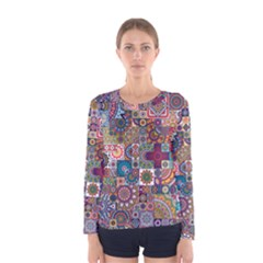 Ornamental Mosaic Background Women s Long Sleeve Tee