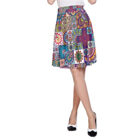 Ornamental Mosaic Background A-Line Skirt