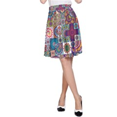 Ornamental Mosaic Background A Line Skirt
