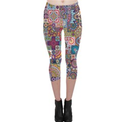 Ornamental Mosaic Background Capri Leggings