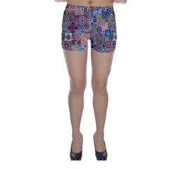 Ornamental Mosaic Background Skinny Shorts