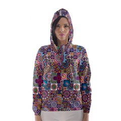Ornamental Mosaic Background Hooded Wind Breaker (Women)