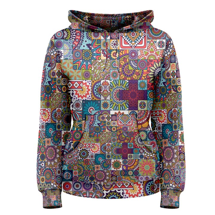 Ornamental Mosaic Background Women s Pullover Hoodie