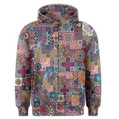 Ornamental Mosaic Background Men s Zipper Hoodie