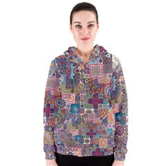 Ornamental Mosaic Background Women s Zipper Hoodie