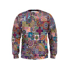 Ornamental Mosaic Background Kids  Sweatshirt