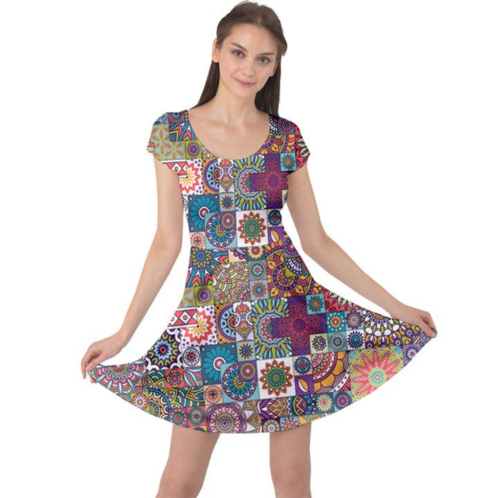 Ornamental Mosaic Background Cap Sleeve Dresses