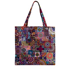 Ornamental Mosaic Background Zipper Grocery Tote Bag