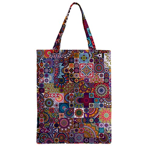 Ornamental Mosaic Background Zipper Classic Tote Bag