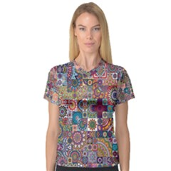 Ornamental Mosaic Background Women s V Neck Sport Mesh Tee