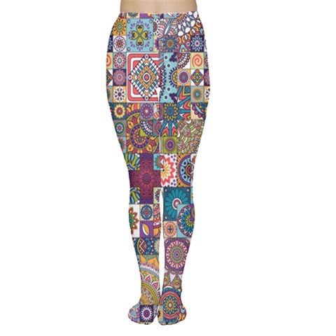 Ornamental Mosaic Background Women s Tights