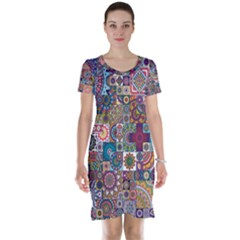 Ornamental Mosaic Background Short Sleeve Nightdress