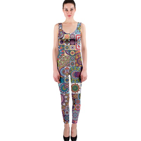 Ornamental Mosaic Background OnePiece Catsuit