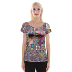 Ornamental Mosaic Background Women s Cap Sleeve Top