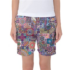 Ornamental Mosaic Background Women s Basketball Shorts