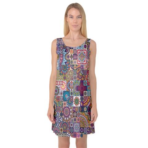 Ornamental Mosaic Background Sleeveless Satin Nightdress