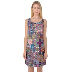Ornamental Mosaic Background Sleeveless Satin Nightdress