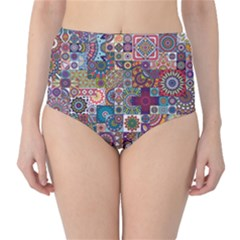 Ornamental Mosaic Background High Waist Bikini Bottoms