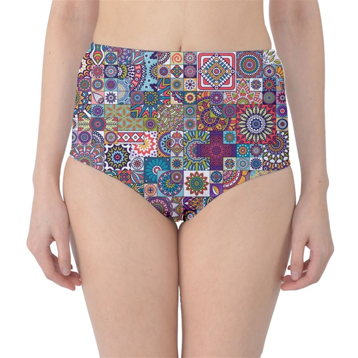 Ornamental Mosaic Background High-Waist Bikini Bottoms
