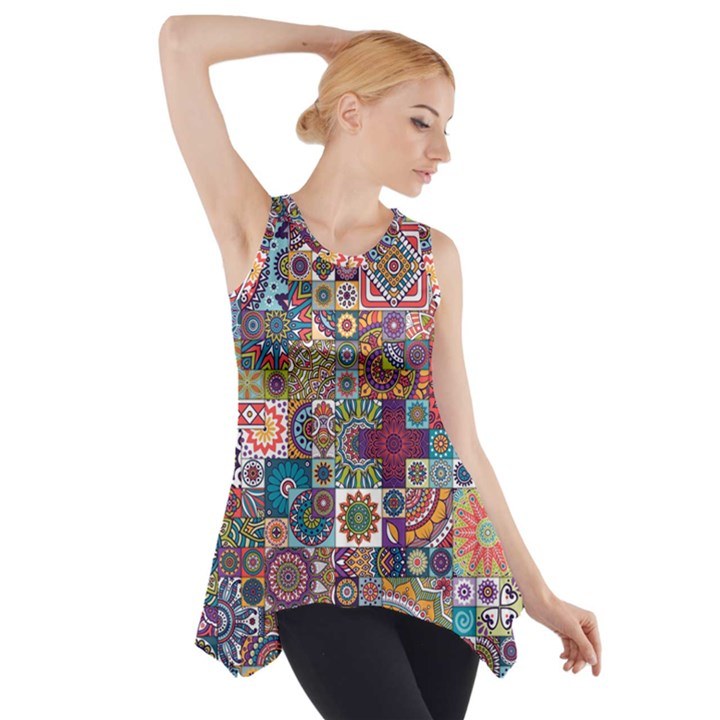 Ornamental Mosaic Background Side Drop Tank Tunic