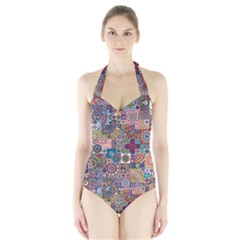 Ornamental Mosaic Background Halter Swimsuit