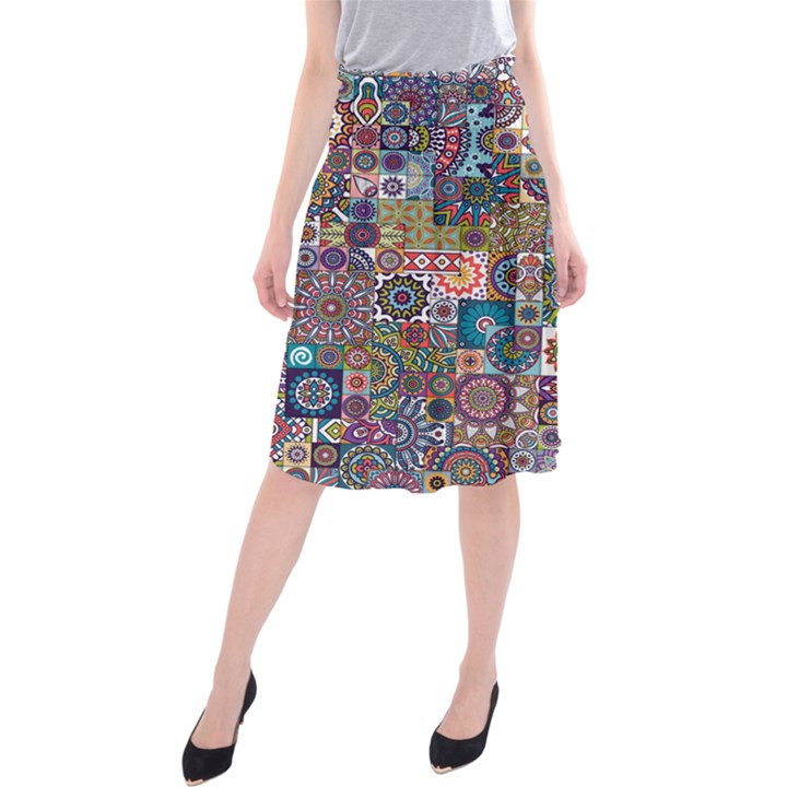 Ornamental Mosaic Background Midi Beach Skirt