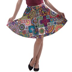 Ornamental Mosaic Background A-line Skater Skirt