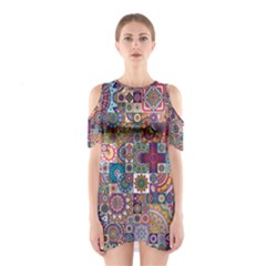 Ornamental Mosaic Background Cutout Shoulder Dress