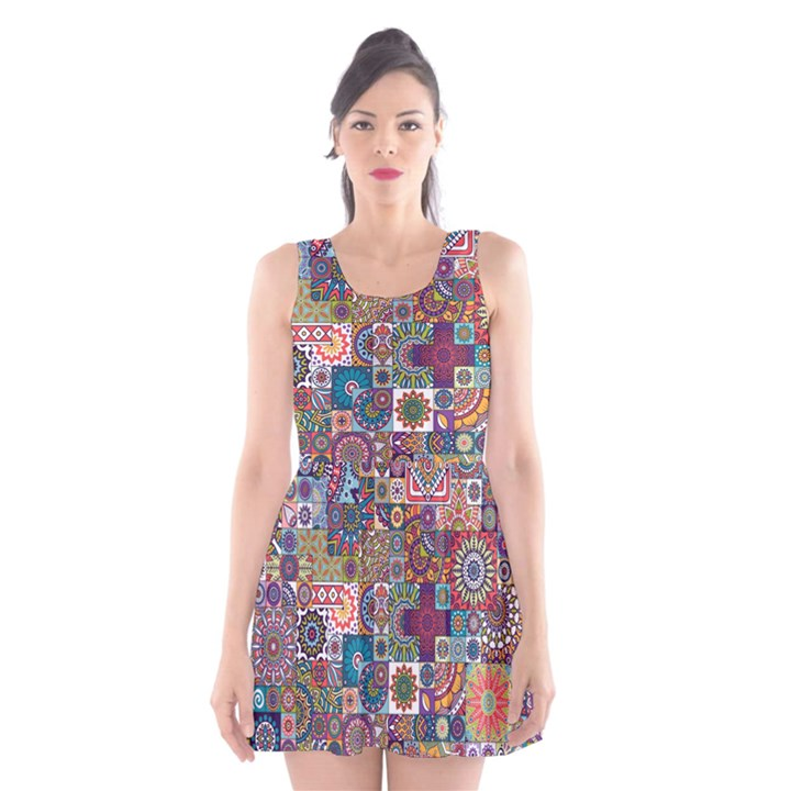 Ornamental Mosaic Background Scoop Neck Skater Dress