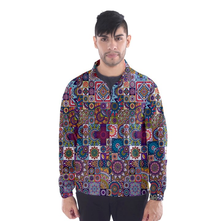 Ornamental Mosaic Background Wind Breaker (Men)