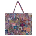 Ornamental Mosaic Background Zipper Large Tote Bag View1