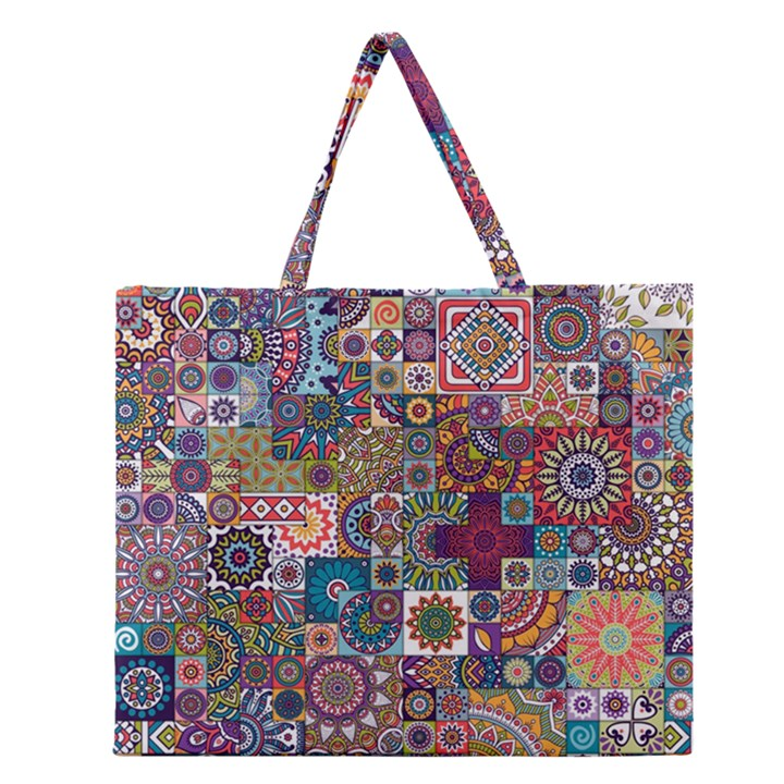 Ornamental Mosaic Background Zipper Large Tote Bag