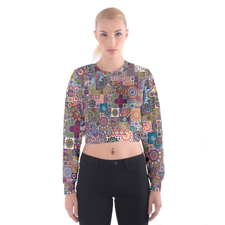 Ornamental Mosaic Background Women s Cropped Sweatshirt