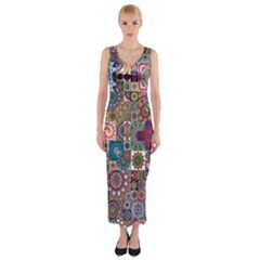 Ornamental Mosaic Background Fitted Maxi Dress