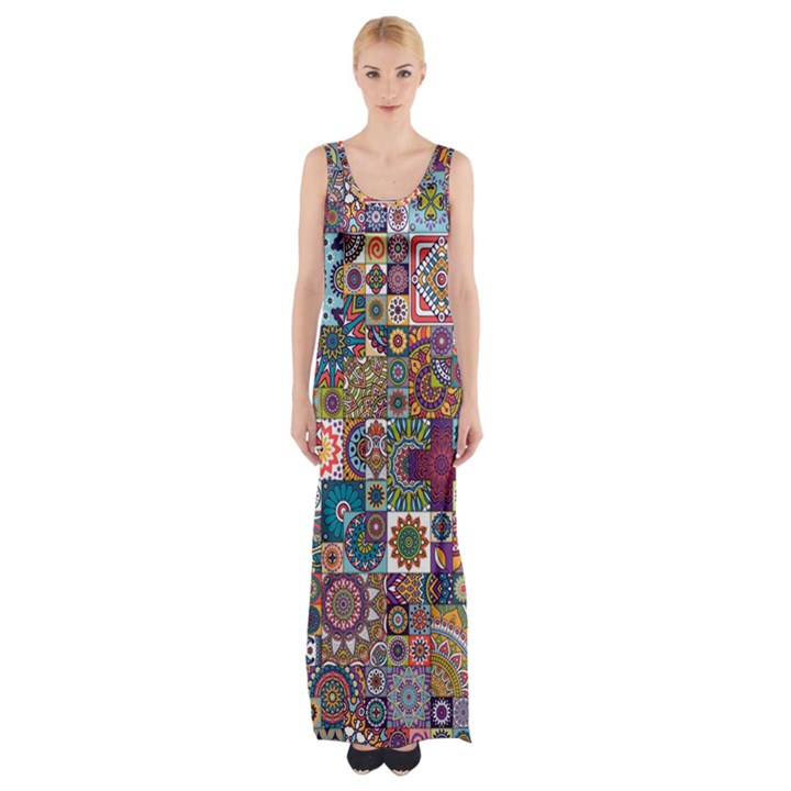 Ornamental Mosaic Background Maxi Thigh Split Dress