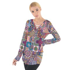 Ornamental Mosaic Background Women s Tie Up Tee