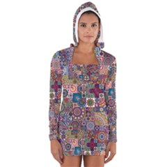 Ornamental Mosaic Background Women s Long Sleeve Hooded T-shirt