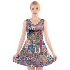 Ornamental Mosaic Background V Neck Sleeveless Skater Dress