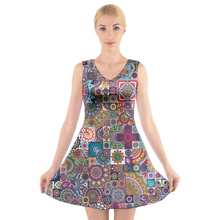 Ornamental Mosaic Background V-Neck Sleeveless Skater Dress