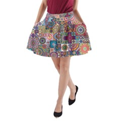 Ornamental Mosaic Background A Line Pocket Skirt